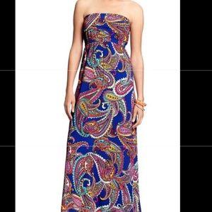 Banana Republic Blue Paisley Strapless Maxi Dress